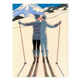 ¡Los esquís del beso del amor del art déco del Tarjetas Postales