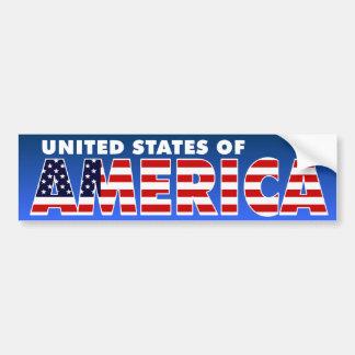 Los Estados Unidos de América Pegatina De Parachoque
