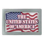 Los Estados Unidos de América con la bandera de lo Hebillas De Cinturon Rectangulares