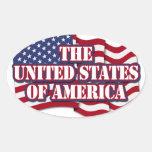 Los Estados Unidos de América con la bandera de lo Pegatinas De Óval Personalizadas