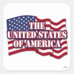 Los Estados Unidos de América con la bandera de lo Calcomania Cuadradas Personalizadas