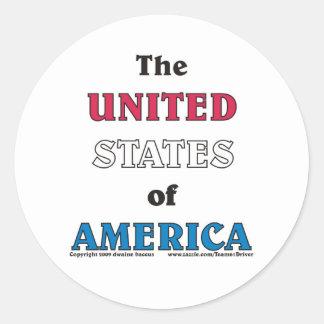 los Estados Unidos de América Pegatina Redonda