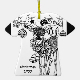 ¡Los estimados pequeños ciervos del navidad Adorno De Cerámica En Forma De Playera