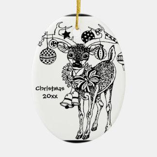 ¡Los estimados pequeños ciervos del navidad Adorno Ovalado De Cerámica