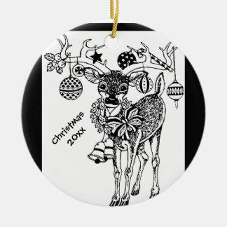 ¡Los estimados pequeños ciervos del navidad Adorno Redondo De Cerámica