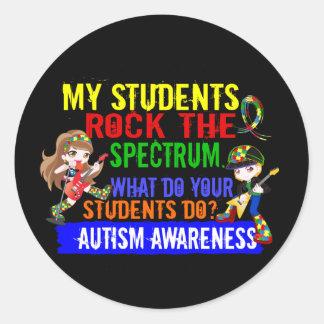 Los estudiantes oscilan el autismo del espectro pegatina redonda
