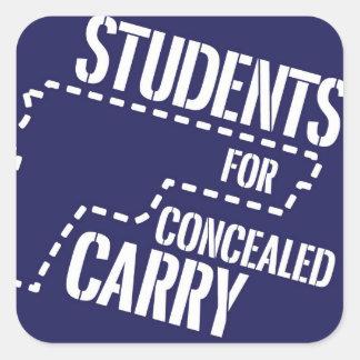Los estudiantes para encubierto llevan a los pegatina cuadrada