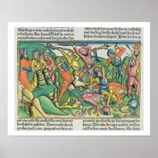 Los éxodos 17 8-15 Aaron y Hur apoyan las manos de Póster