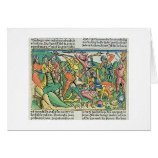 Los éxodos 17 8-15 Aaron y Hur apoyan las manos de Tarjeta De Felicitación