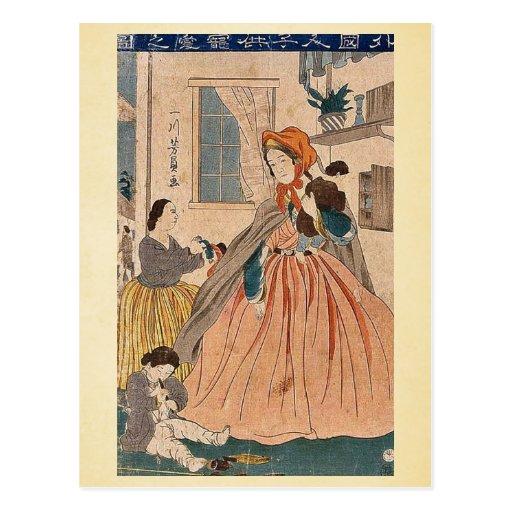 Los extranjeros aman para los niños por Utagawa, Y Tarjeta Postal
