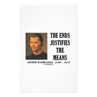 Los extremos de Maquiavelo justifican la cita de Papeleria De Diseño