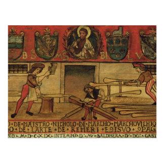 Los fabricantes del remo (el panel) tarjeta postal