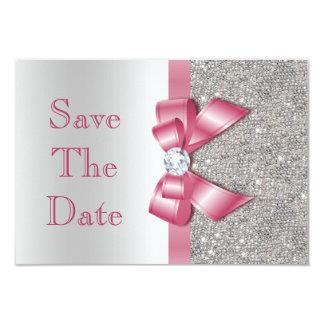 """Los falsos diamantes rosados del arco ahorran la invitación 3.5"""" x 5"""""""