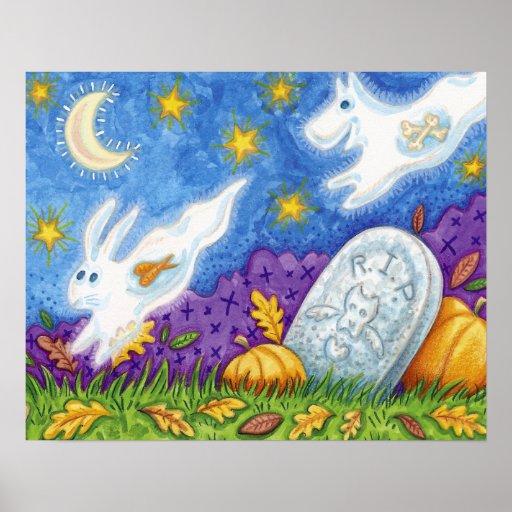 los fantasmas lindos del conejito del perro persig posters