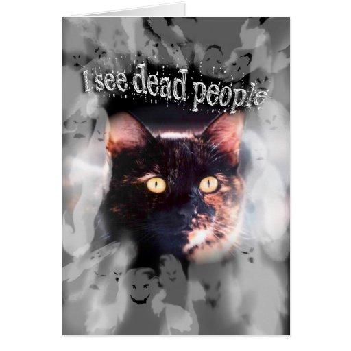 Los fantasmas y feliz Halloween del gato veo a Tarjeta De Felicitación