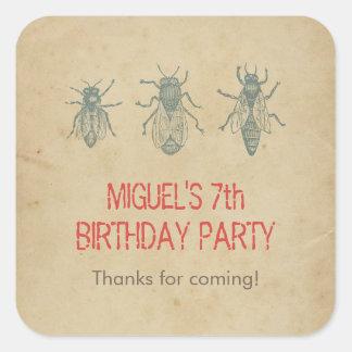 Los favores de la fiesta de cumpleaños de los pegatina cuadrada