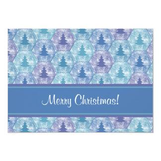 """Los felices árboles de navidad invitan en azul y invitación 5"""" x 7"""""""