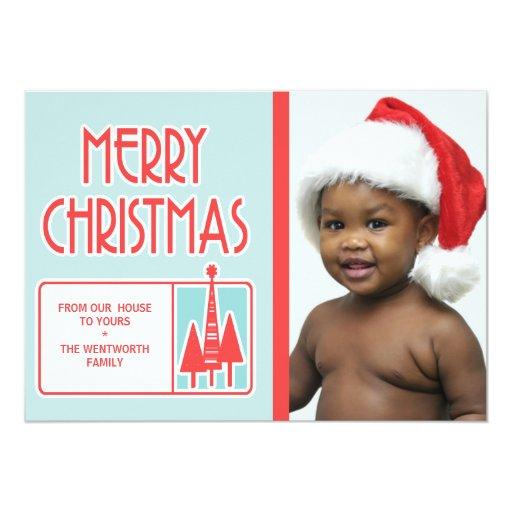 """Los Felices Navidad modernos personalizaron Invitación 5"""" X 7"""""""