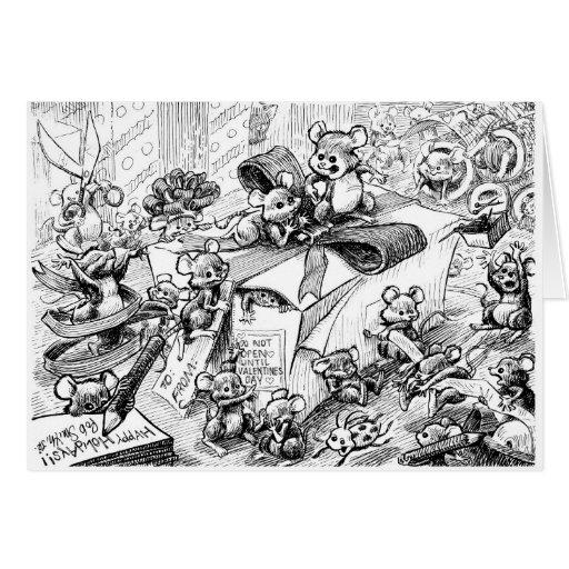 Los felices ratones hacen el embalaje tarjeta de felicitación