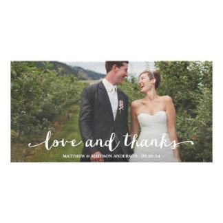 Los | feliz casados que se casan le agradecen tarjeta fotografica personalizada