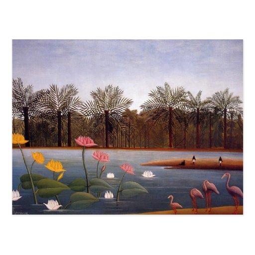 Los flamencos de Henri Rousseau Postales