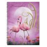 Los flamencos rosados caprichosos personalizaron e libretas espirales