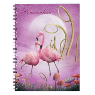 Los flamencos rosados caprichosos personalizaron spiral notebook