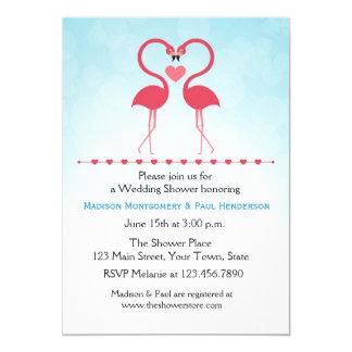 """Los flamencos rosados, corazón, juntan la ducha invitación 5"""" x 7"""""""