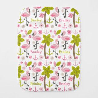 Los flamencos rosados personalizaron el paño del paños para bebé