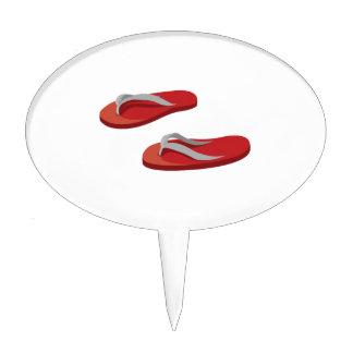 los flips-flopes grises rojos compensaron .png figura de tarta