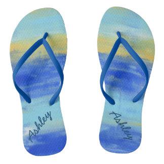 Los flips-flopes náuticos azules de Personlized