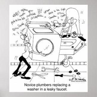 Los fontaneros del novato instalan una lavadora impresiones