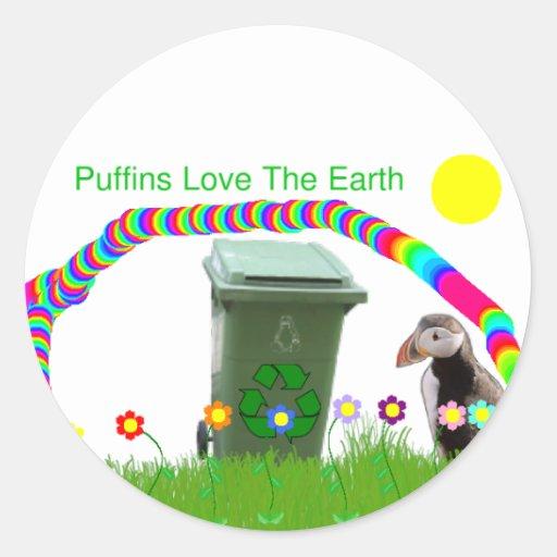 Los frailecillos aman al pegatina de la tierra