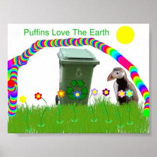 Los frailecillos aman el poster de la tierra