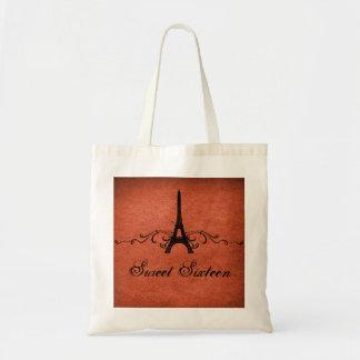 Los franceses anaranjados del vintage prosperan el bolsas lienzo