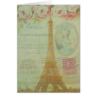Los franceses de los rosas de la torre Eiffel de P Tarjetas