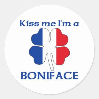 Los franceses personalizados me besan que soy etiqueta redonda