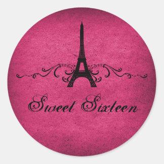 Los franceses rosados del vintage prosperan a los pegatinas redondas