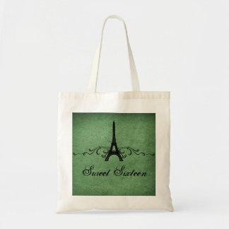 Los franceses verdes del vintage prosperan el bols bolsas lienzo