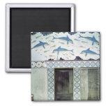 Los frescos del delfín en el cuarto de baño de la  imán cuadrado