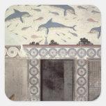 Los frescos del delfín en el cuarto de baño de la pegatina cuadrada