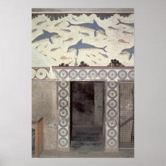 Los frescos del delfín en el cuarto de baño de la  póster