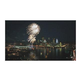 Los fuegos artificiales de Pittsburgh deben ver la Impresión En Tela