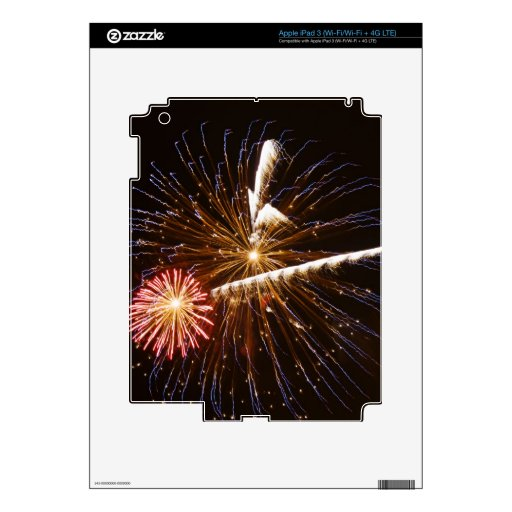 Los fuegos artificiales exhiben en el río Savannah Pegatina Skin Para iPad 3