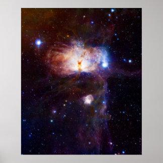 Los fuegos ocultados de la nebulosa NGC 2024 de la Póster