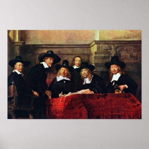 Los funcionarios del muestreo. Por Rembrandt Van R Posters