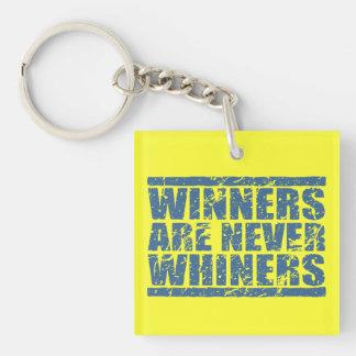 Los ganadores nunca son mirada azul retra de los llavero cuadrado acrílico a una cara