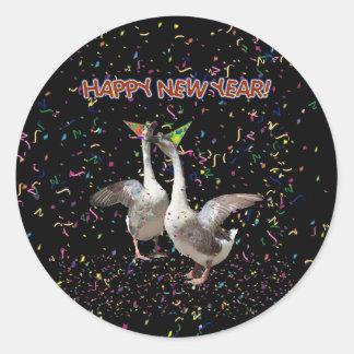 Los gansos del Año Nuevo Pegatina Redonda
