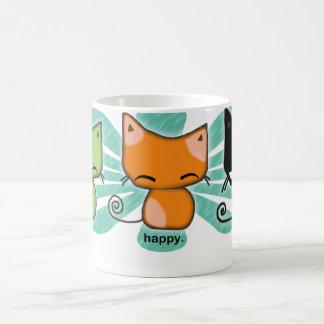 los gatitos de happy happy meh con aguamarina flor