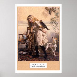 Los gatitos del chica del Victorian persiguen Póster